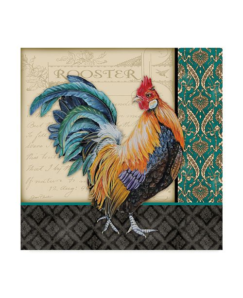 """Trademark Global Jean Plout 'Damask Rooster Blue' Canvas Art - 24"""" x 24"""""""