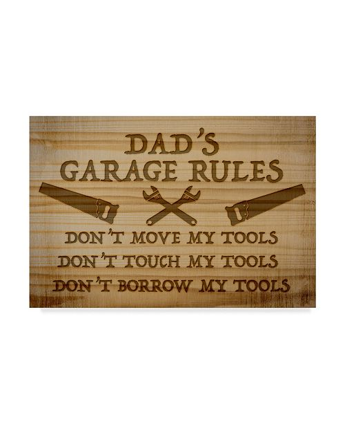 "Trademark Global Jean Plout 'Dads Garage Rules' Canvas Art - 30"" x 47"""