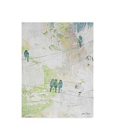 """Jean Plout 'Blue Birds On Wires' Canvas Art - 24"""" x 32"""""""
