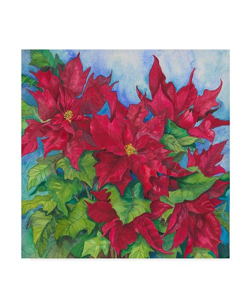 "Trademark Global Joanne Porter 'Red Oak Leaf Poinsettias' Canvas Art - 24"" x 24"""