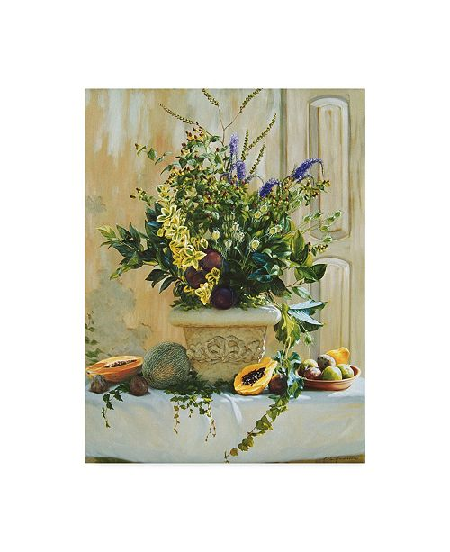 """Trademark Global Robin Anderson 'Green Floral' Canvas Art - 35"""" x 47"""""""
