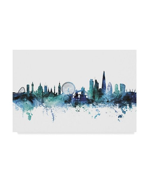 "Trademark Global Michael Tompsett 'London England Blue Teal Skyline' Canvas Art - 32"" x 22"""