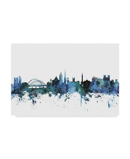 "Trademark Global Michael Tompsett 'Newcastle England Blue Teal Skyline' Canvas Art - 32"" x 22"""