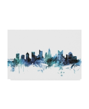 "Michael Tompsett 'columbus Ohio Blue Teal Skyline' Canvas Art - 47"" X 30"""