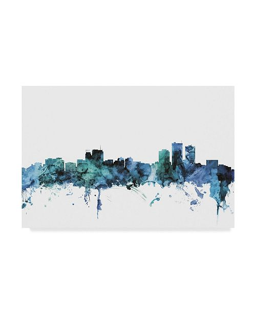 "Trademark Global Michael Tompsett 'Anchorage Alaska Blue Teal Skyline' Canvas Art - 47"" x 30"""
