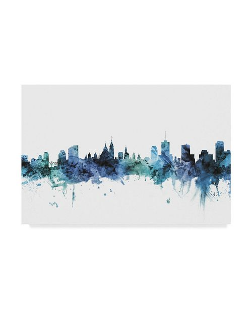 "Trademark Global Michael Tompsett 'Ottawa Canada Blue Teal Skyline' Canvas Art - 32"" x 22"""