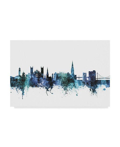 "Trademark Global Michael Tompsett 'Exeter England Blue Teal Skyline' Canvas Art - 32"" x 22"""