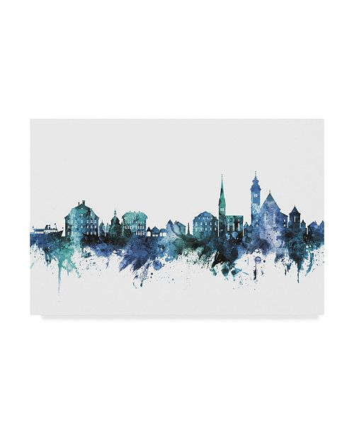 "Trademark Global Michael Tompsett 'Hallstatt Austria Blue Teal Skyline' Canvas Art - 32"" x 22"""
