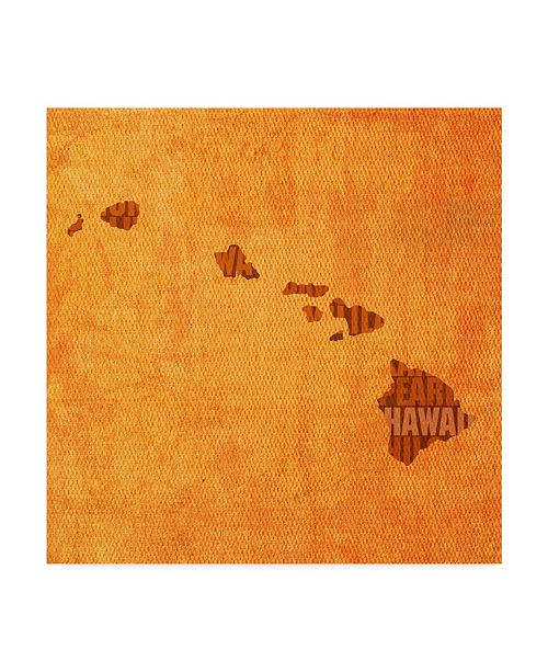 "Trademark Global Red Atlas Designs 'Hawaii State Words' Canvas Art - 35"" x 35"""