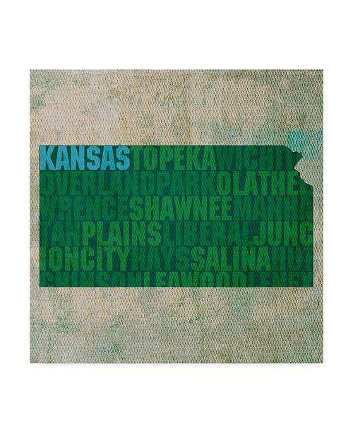 "Trademark Global Red Atlas Designs 'Kansas State Words' Canvas Art - 35"" x 35"""