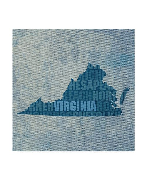 "Trademark Global Red Atlas Designs 'Virginia State Words' Canvas Art - 24"" x 24"""