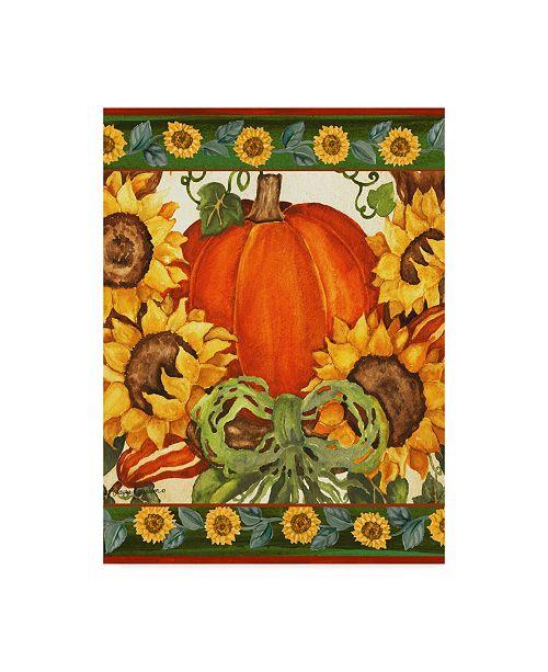 """Trademark Global Laurie Korsgaden 'Pumpkin And Sunflowers' Canvas Art - 35"""" x 47"""""""