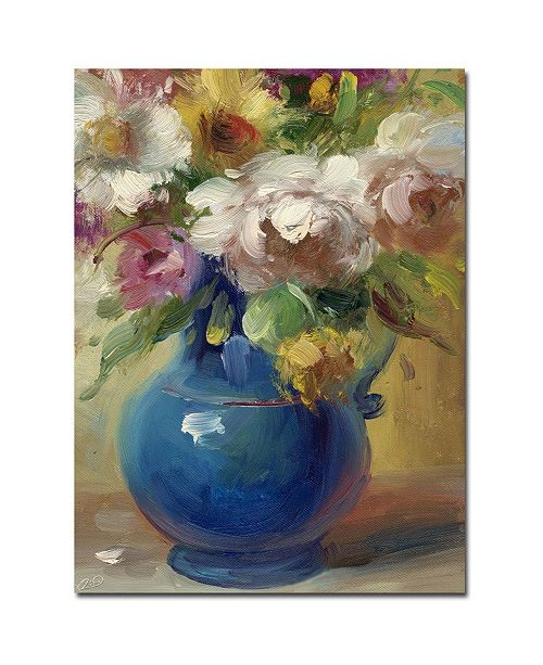 "Trademark Global Rio 'Flowers in a Blue Vase' Canvas Art - 32"" x 24"""