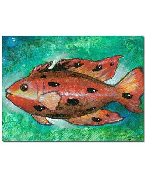 "Trademark Global Yonel 'Orange Fish' Canvas Art - 24"" x 18"""