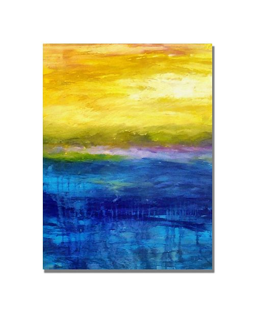 """Trademark Global Michelle Calkins 'Gold and Pink Sunset' Canvas Art - 47"""" x 35"""""""