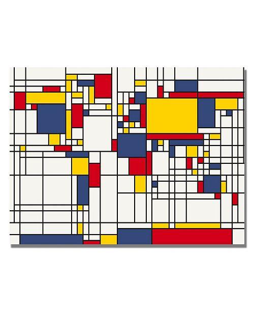 """Trademark Global Michael Tompsett 'Mondrian World Map' Canvas Art - 32"""" x 22"""""""