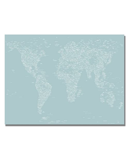 "Trademark Global Michael Tompsett 'Font World Map V' Canvas Art - 47"" x 30"""