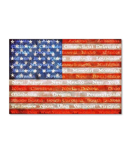 """Trademark Global Michelle Calkins 'American Flag with States' Canvas Art - 47"""" x 30"""""""