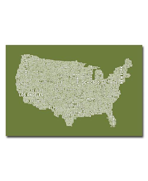 "Trademark Global Michael Tompsett 'US City Map VI' Canvas Art - 47"" x 30"""
