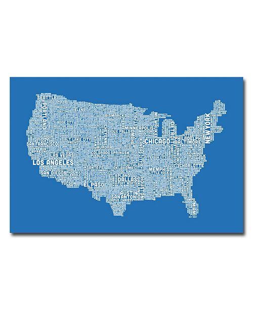 "Trademark Global Michael Tompsett 'US City Map XIII' Canvas Art - 24"" x 16"""