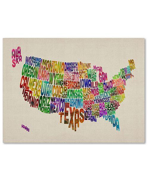 "Trademark Global Michael Tompsett 'USA States Text Map' Canvas Art - 47"" x 30"""