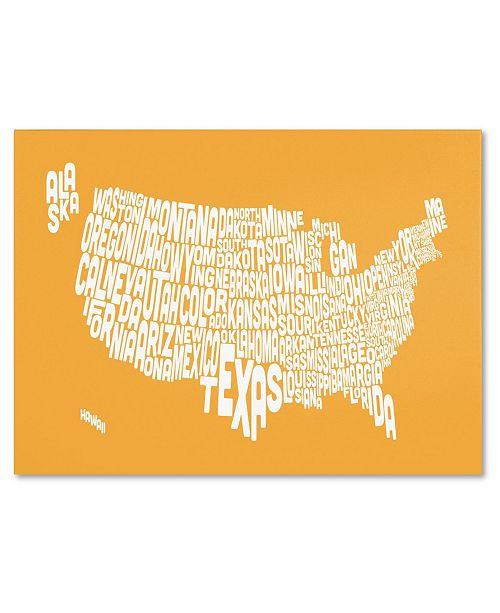 "Trademark Global Michael Tompsett 'SUNSET-USA States Text Map' Canvas Art - 24"" x 16"""
