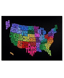 "Michael Tompsett 'USA States Txt Map' Canvas Art - 32"" x 22"""