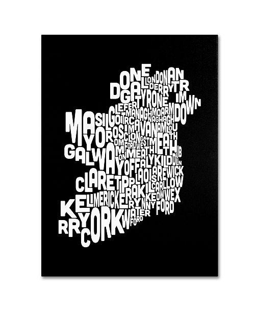 "Trademark Global Michael Tompsett 'Ireland Text Map 5' Canvas Art - 24"" x 16"""