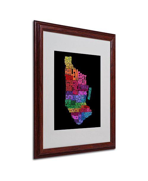 "Trademark Global Michael Tompsett 'Manhattan Text Map 2' Matted Framed Art - 20"" x 16"""