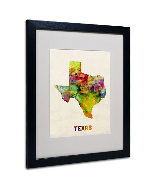 "Trademark Global Michael Tompsett 'Texas Map' Matted Framed Art - 20"" x 16"""