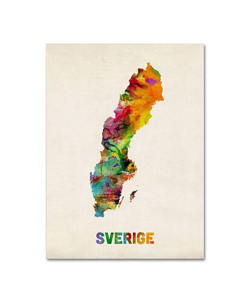 """Trademark Global Michael Tompsett 'Sweden Watercolor Map' Canvas Art - 32"""" x 24"""""""