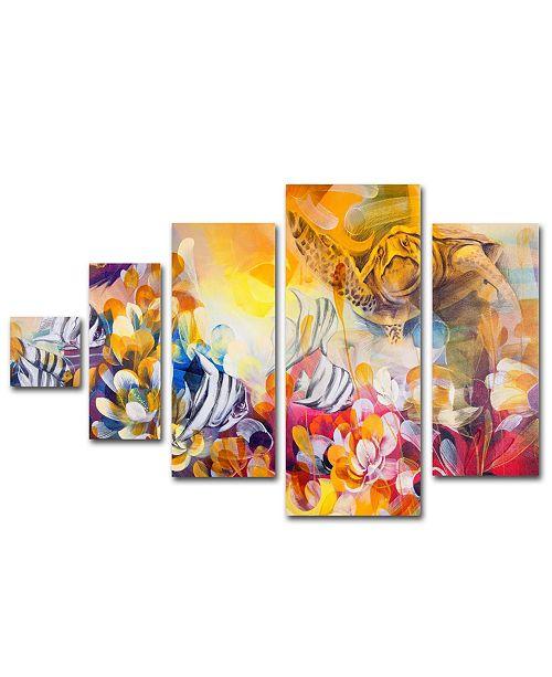 "Trademark Global Palacios 'Key Largo' Multi Panel Canvas Art Set - 34"" x 58"""