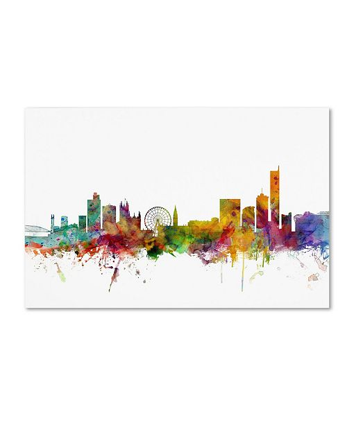 "Trademark Global Michael Tompsett 'Manchester England Skyline II' Canvas Art - 47"" x 30"""