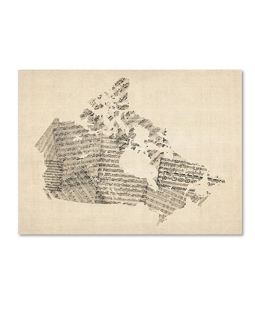 "Trademark Global Michael Tompsett 'Old Sheet Music Map of Canada' Canvas Art - 24"" x 18"""