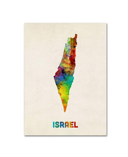 "Trademark Global Michael Tompsett 'Israel Watercolor Map' Canvas Art - 24"" x 18"""
