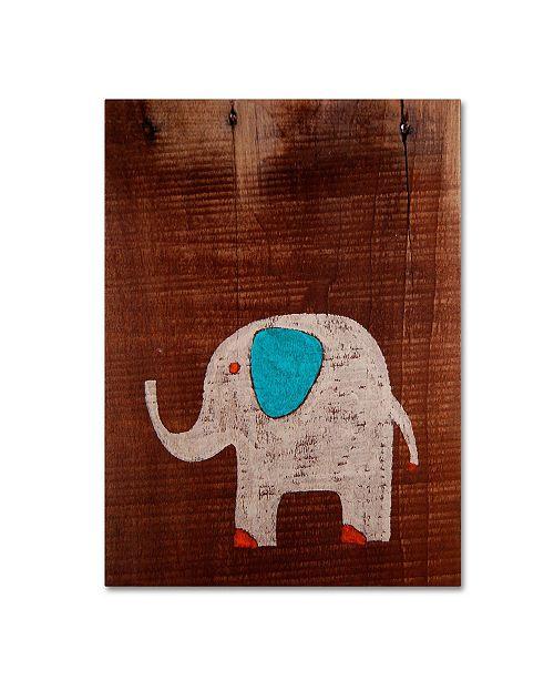 "Trademark Global Nicole Dietz 'Elephant on Wood' Canvas Art - 47"" x 35"""