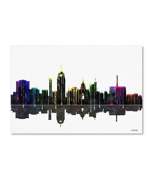 "Trademark Global Marlene Watson 'Lansing Michigan Skyline II' Canvas Art - 30"" x 47"""