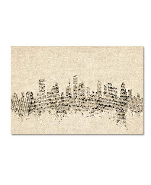 "Trademark Global Michael Tompsett 'Houston Texas Skyline Sheet Music' Canvas Art - 22"" x 32"""