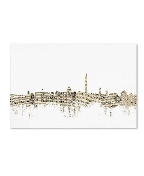 "Trademark Global Michael Tompsett 'DC Skyline Sheet Music II' Canvas Art - 22"" x 32"""