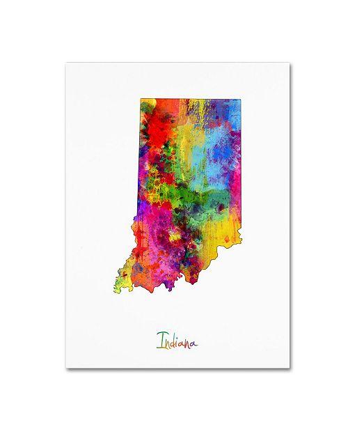 "Trademark Global Michael Tompsett 'Indiana Map' Canvas Art - 24"" x 32"""