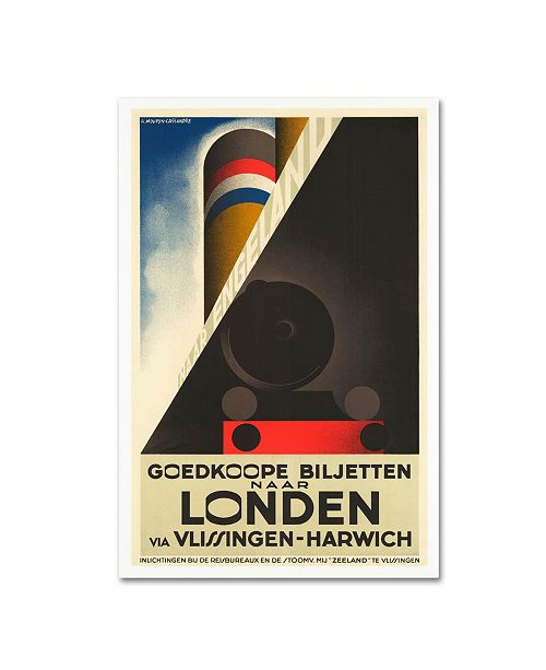 "Trademark Global Vintage Apple Collection 'London Harwich' Canvas Art - 12"" x 19"""