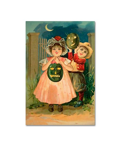 "Trademark Global Vintage Apple Collection 'Halloween Black Jack O Lantern' Canvas Art - 12"" x 19"""