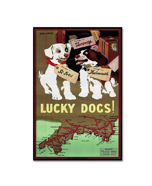 """Trademark Global Vintage Apple Collection 'Lucky Dogs' Canvas Art - 12"""" x 19"""""""
