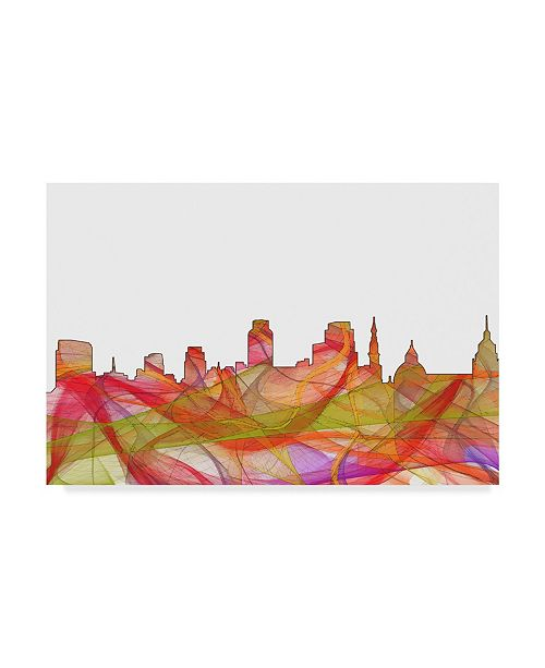 "Trademark Global Marlene Watson 'Sacramento California Skyline Swirl' Canvas Art - 12"" x 19"""