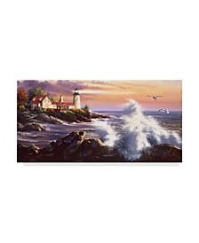 "D. Rusty Rust 'Lighthouse Waves' Canvas Art - 12"" x 24"""