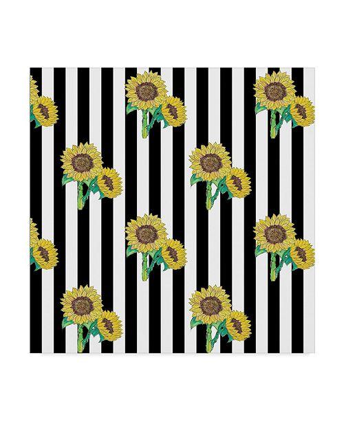 "Trademark Global Jessmessin 'Sunflowers Black' Canvas Art - 14"" x 14"""