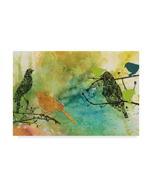"Trademark Global Jean Plout 'Colorful Bird Pattern' Canvas Art - 12"" x 19"""