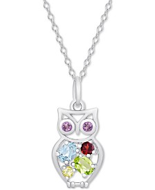 "Multi-Gemstone Owl 18"" Pendant Necklace (1/2 ct. t.w.) in Sterling Silver"