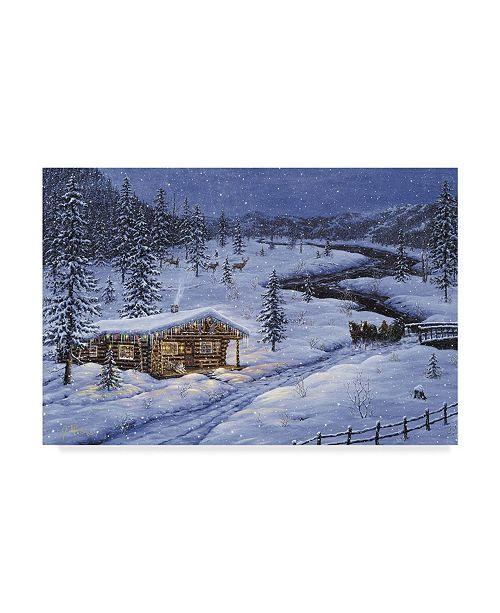 "Trademark Global Jeff Tift 'Winter Cabin' Canvas Art - 12"" x 19"""