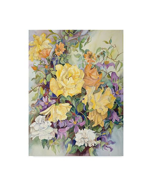 """Trademark Global Joanne Porter 'Roses With Purple Clematis' Canvas Art - 14"""" x 19"""""""